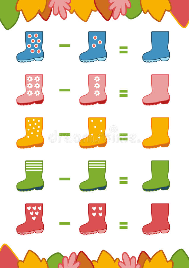 Counting Game For Preschool Children. Subtraction Worksheets Stock ...