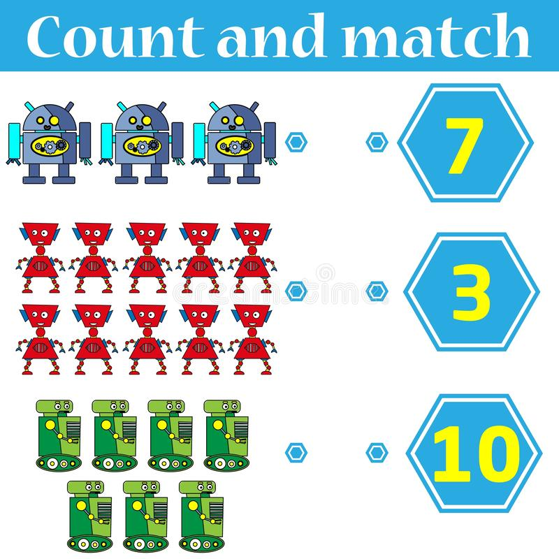 Counting game for preschool kids. Educational and mathematical game for children. Count and match - worksheet for kids vector illustration