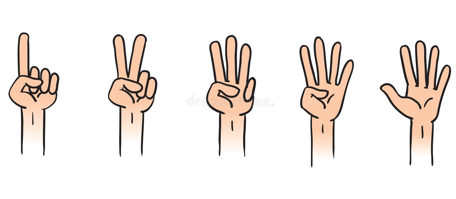 Counting hands stock illustration