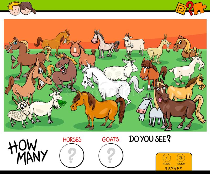 Counting horses and goats educational game for kids stock illustration