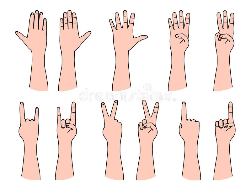 Counting by human fingers and gesturing of victory and rock music royalty free illustration