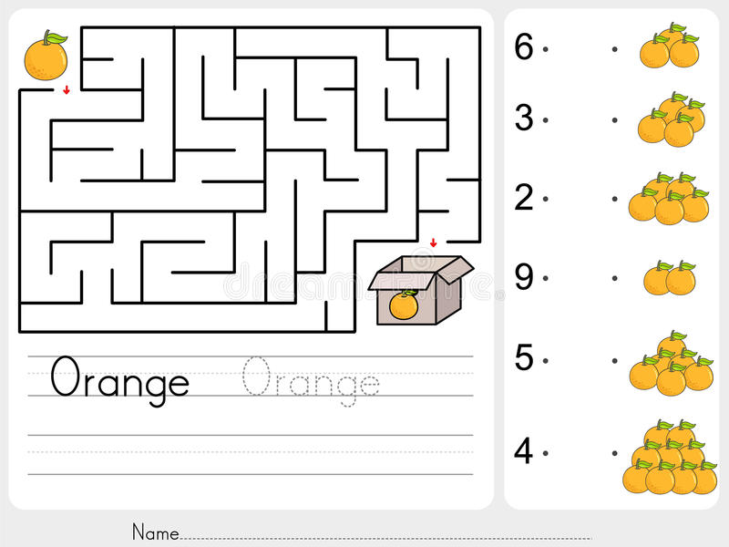 Counting oranges and match with number - Pick apple box maze game stock illustration