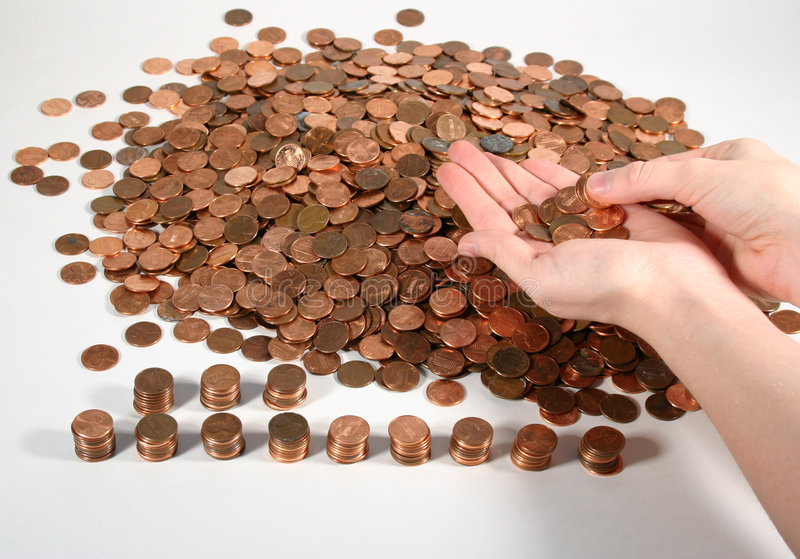 Download Counting Pennies stock photo. Image of hands, copper, coins - 102060