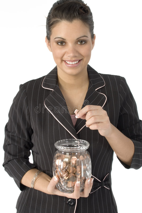 Counting Pennies stock photography