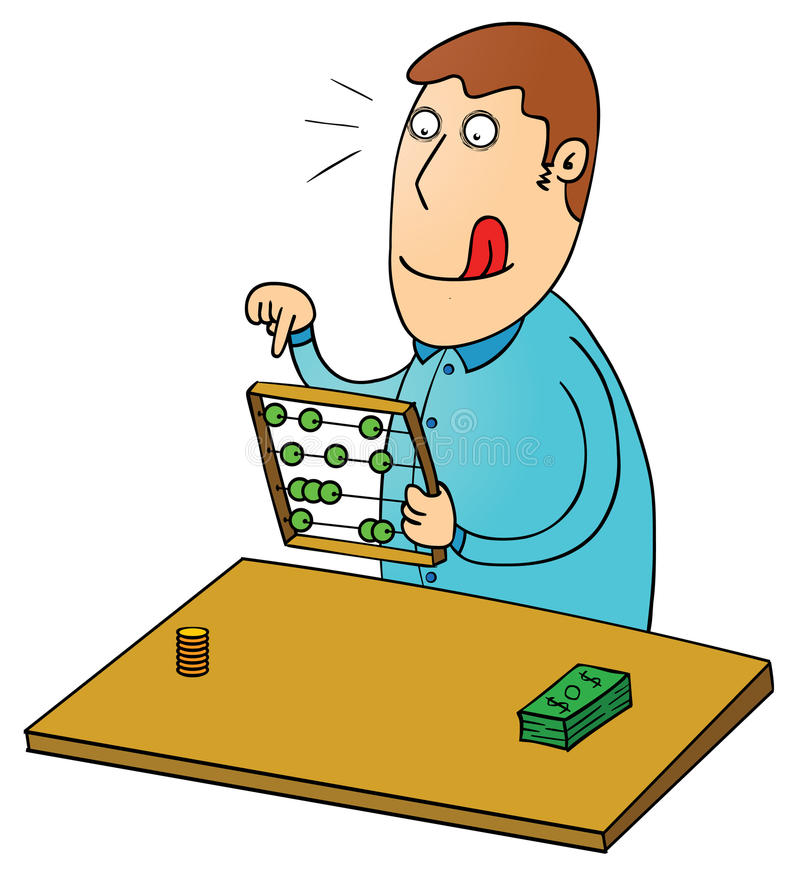 Counting profit with abacus. Illustration of a man counting profit with abacus royalty free illustration