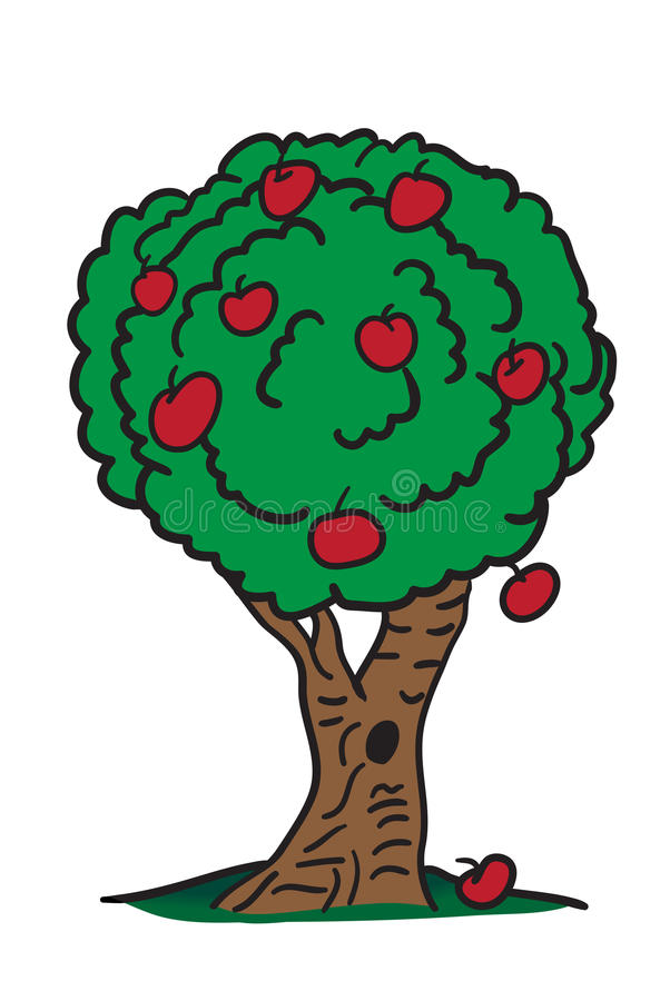 Counting Red Apples On the Tree Cartoon Art. Its a total of 9 apples on the tree excluding the one on the ground, otherwise a total of 10 apples to be found in vector illustration