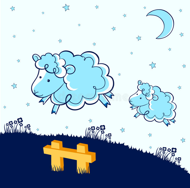 Counting sheep stock illustration