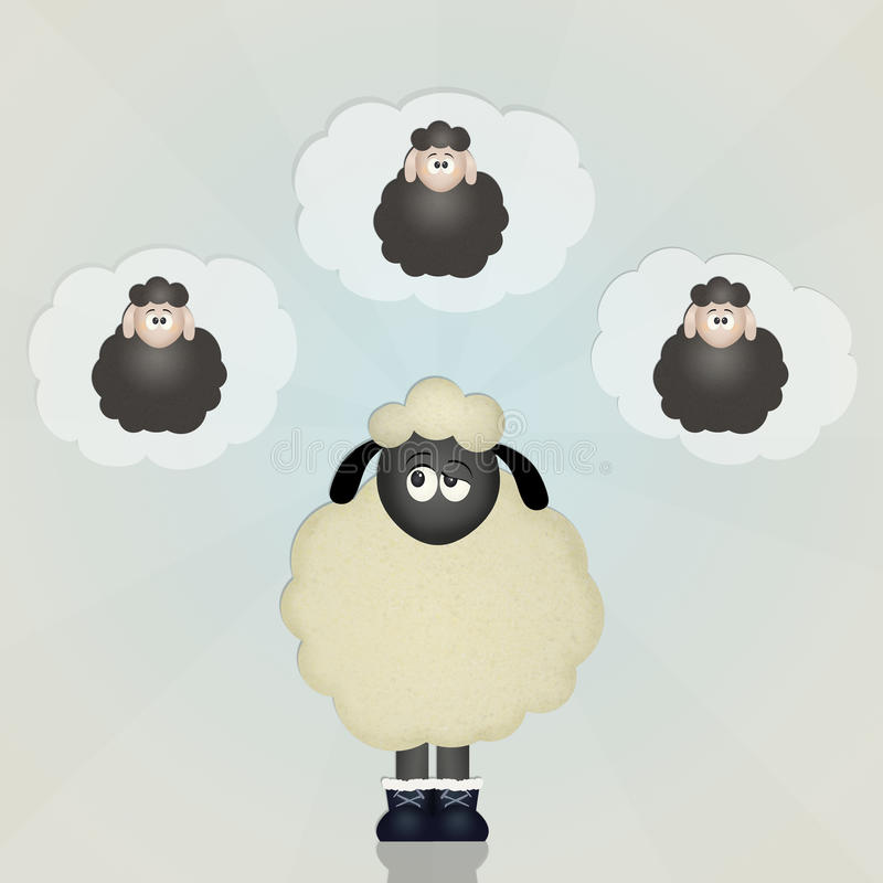 Counting sheep. Funny illustration of counting sheep stock illustration