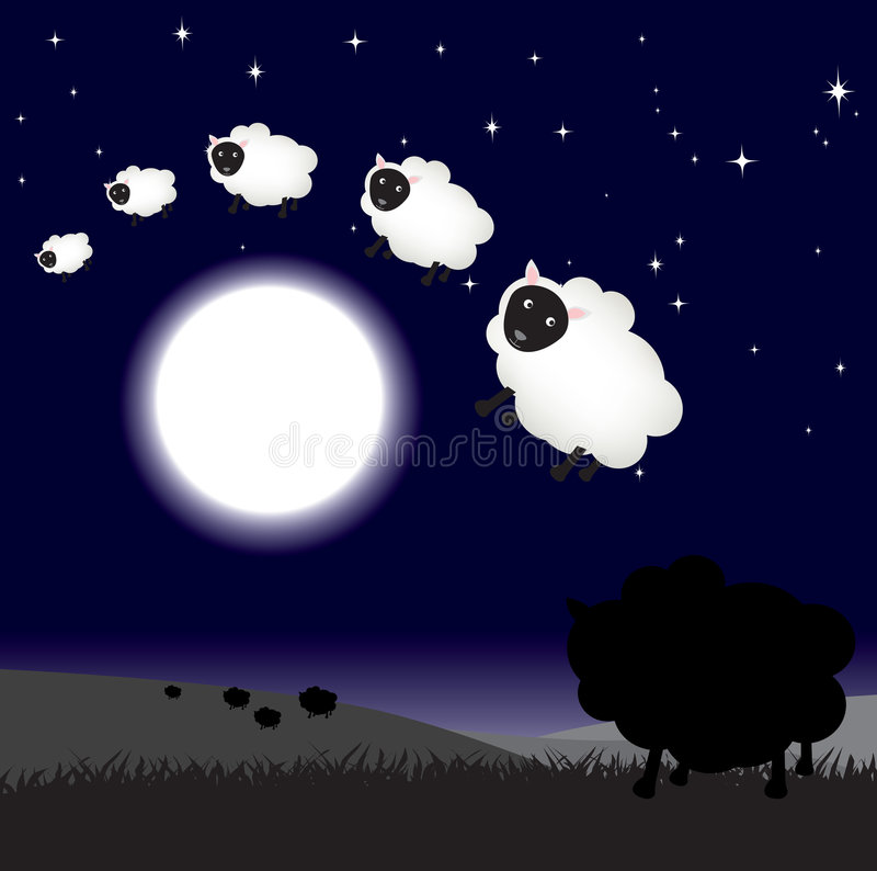 Download Counting sheep at night stock vector. Image of funny, animal - 8169939