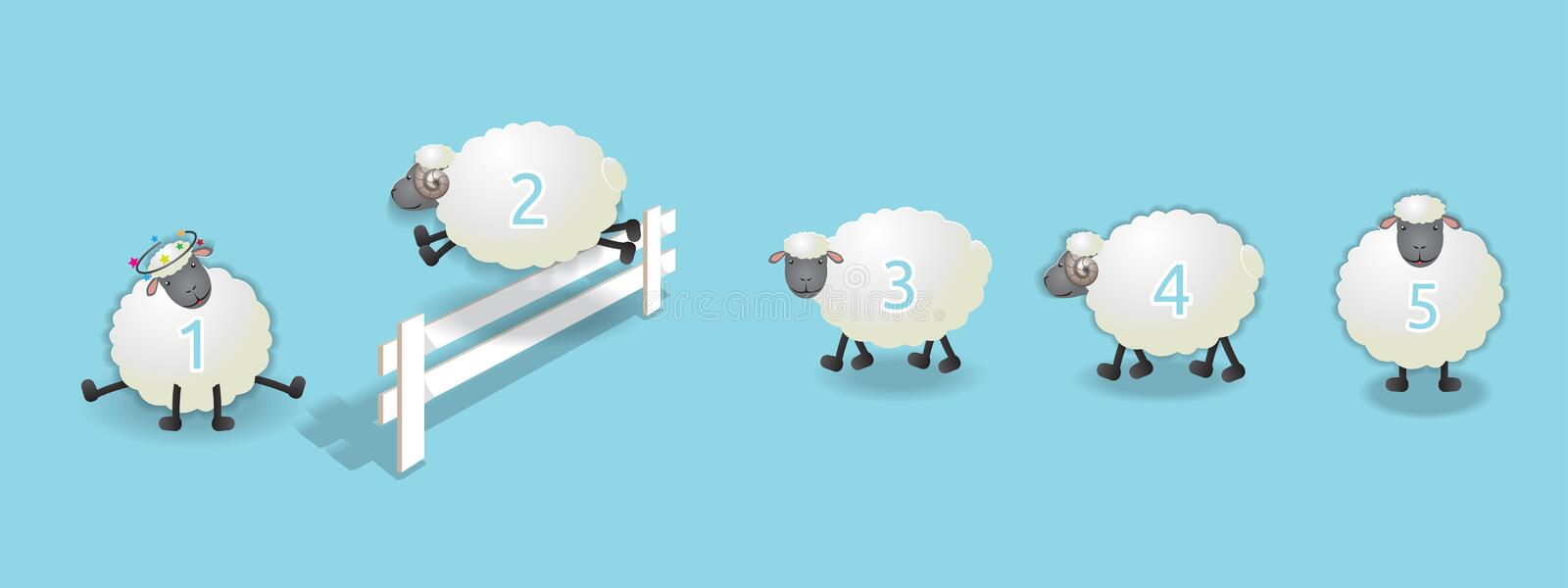 Counting sheep queue stock illustration