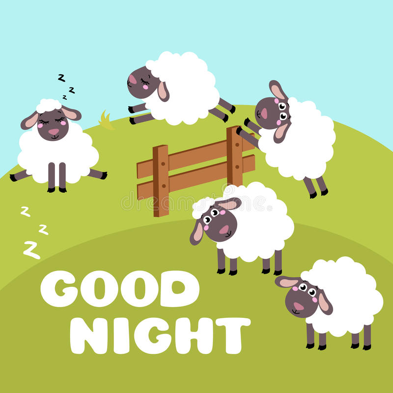 Download Counting Sheep To Fall Asleep Cartoon Happy Jumping For Baby Stock Vector