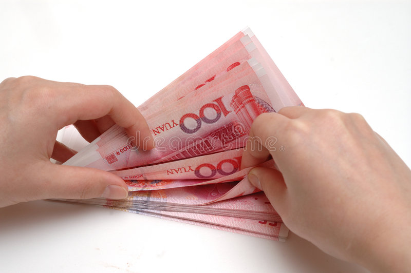 Counting  Stack RMB Cash Royalty Free Stock Photo