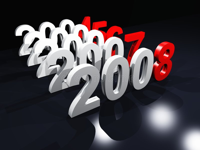 Counting to 2008. Years counting from 2004 to 2008 vector illustration