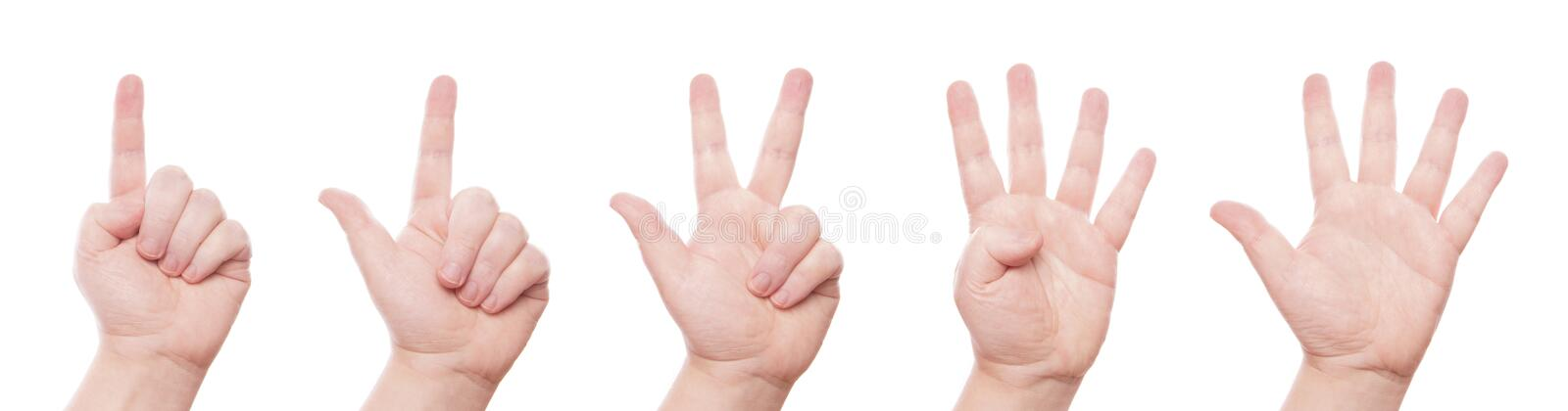 Counting Hand Signs From One To Five Stock Image - Image of
