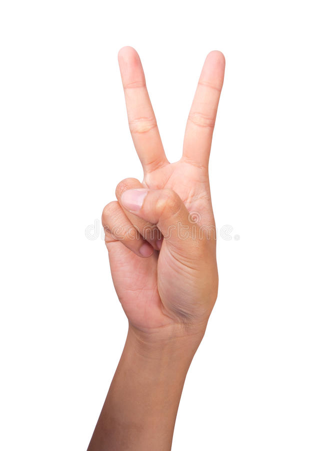 Free Counting Woman S Right Hands Finger Number (2) Stock Photography - 25420482