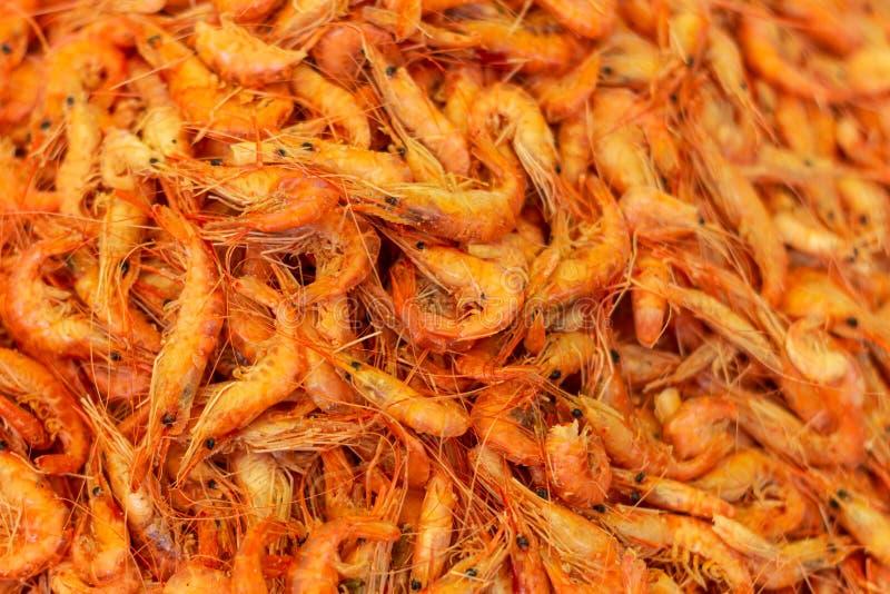 Countless fresh shrimp in vibrant colors. Fresh marine food royalty free stock photo