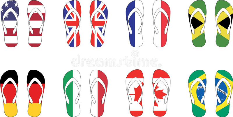 8 countries flag slippers Vector illustration stock image
