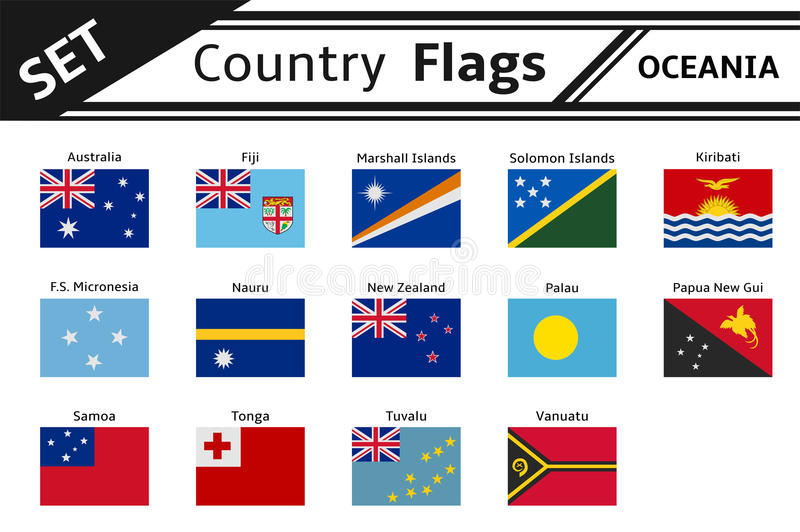 Countries flags oceania stock photography