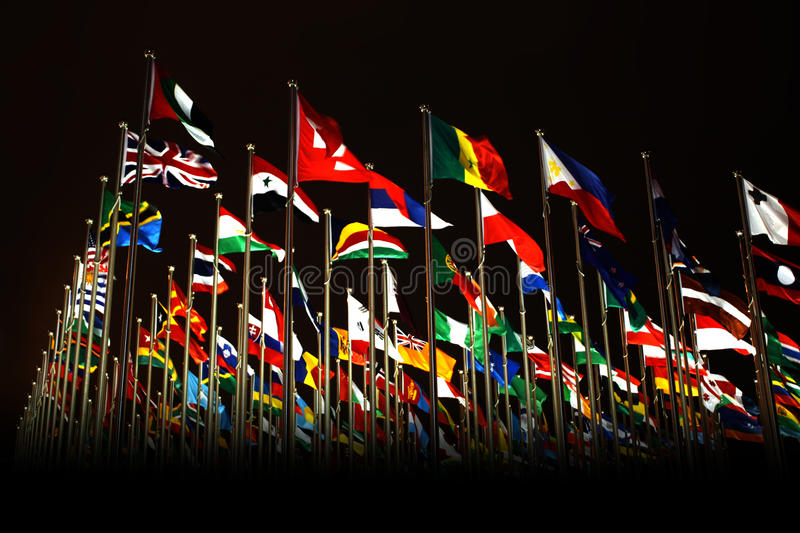 Countries flags in Shanghai World Expo stock image