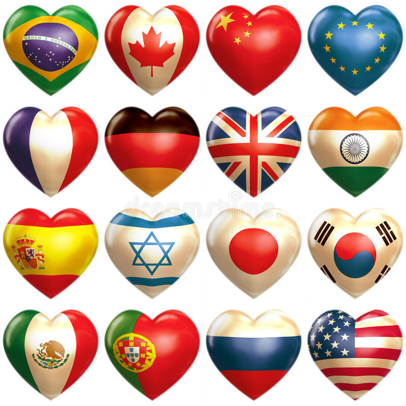 Countries hearts in 3d stock illustration