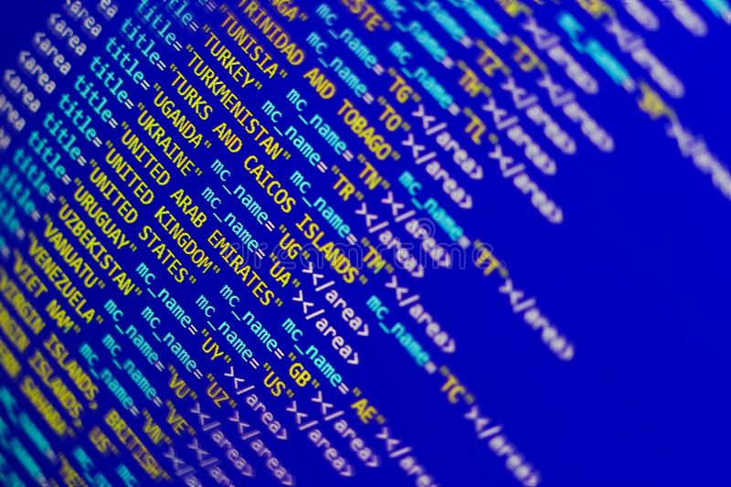 Countries list in XML. Countries list in computrer data format stock photo