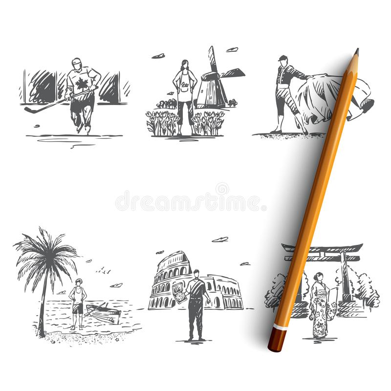Countries - Netherlands, Spain, Canada, Australia, Italy, Japan vector concept set royalty free illustration