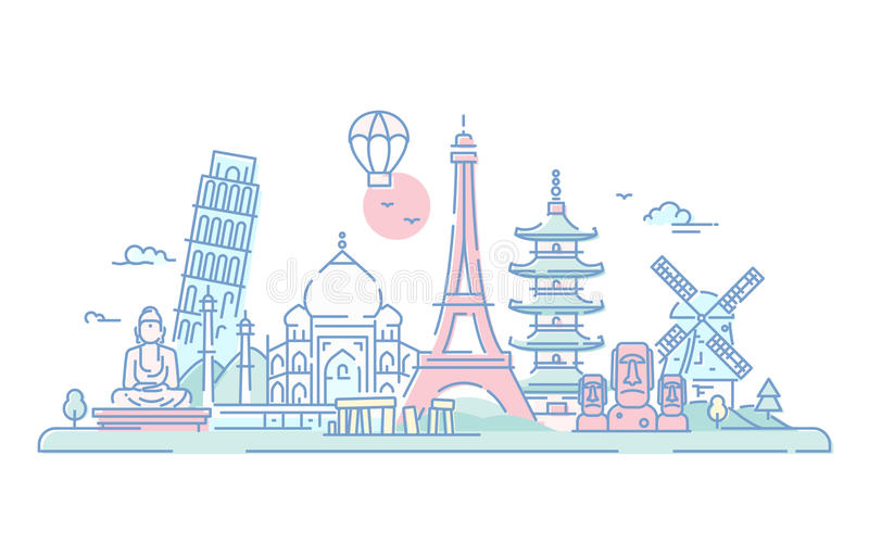 Countries - vector line travel illustration. Countries - modern vector line travel illustration. Discover India, Japan, France, Italy, Netherlands. World famous stock illustration