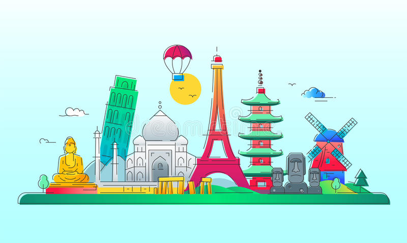 Countries - vector line travel illustration. Countries - modern vector line travel illustration. India, Japan, France, Italy, Netherlands. Be on a safe and stock illustration