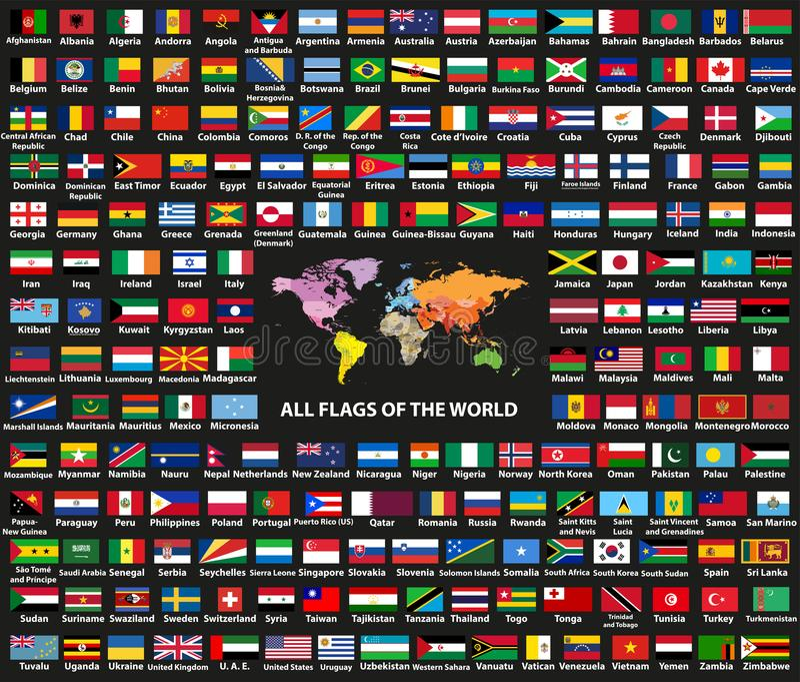 Countriessovereign för världen för vektoruppsättningen påstår allra flaggor som är ordnade i alfabetisk ordning Översikt av värld royaltyfri illustrationer