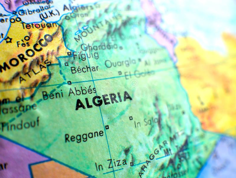 Country of Algeria Africa focus macro shot on globe map for travel blogs, social media, website banners and backgrounds. royalty free stock photo
