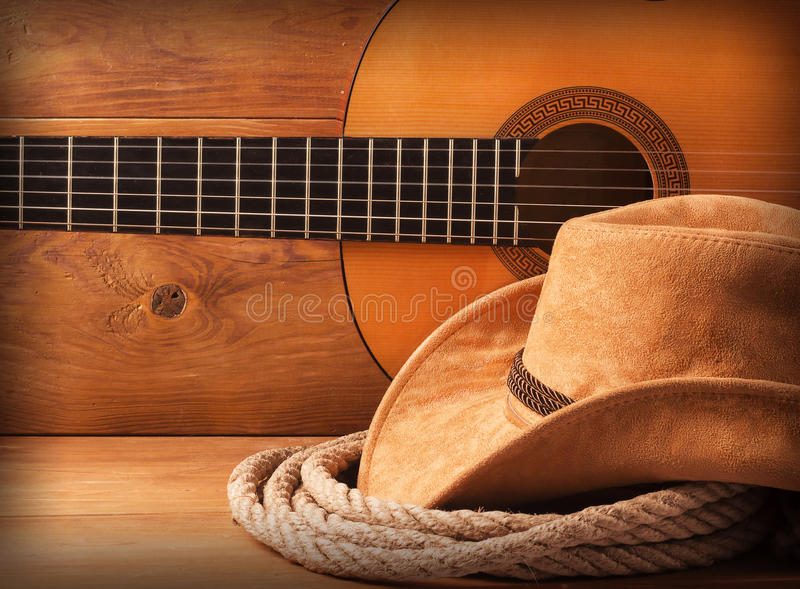 Country american music. Background with cowboy hat and lasso stock photography