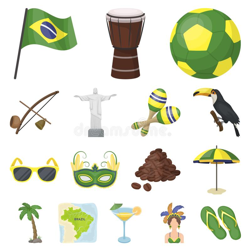 Country Brazil Cartoon Icons In Set Collection For Design Travel