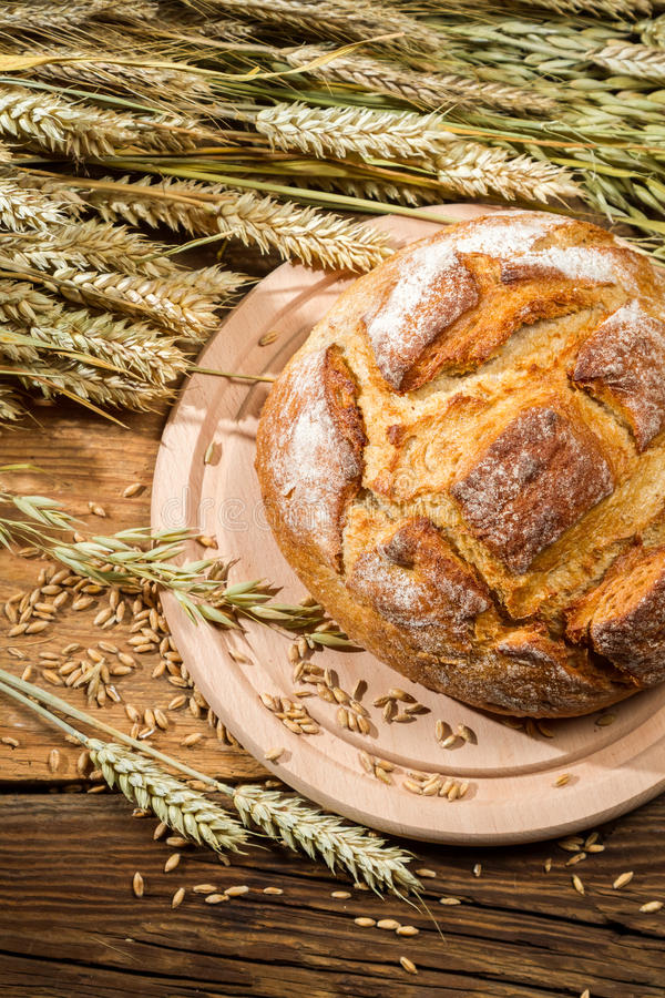 Country bread from a healthy grains royalty free stock image