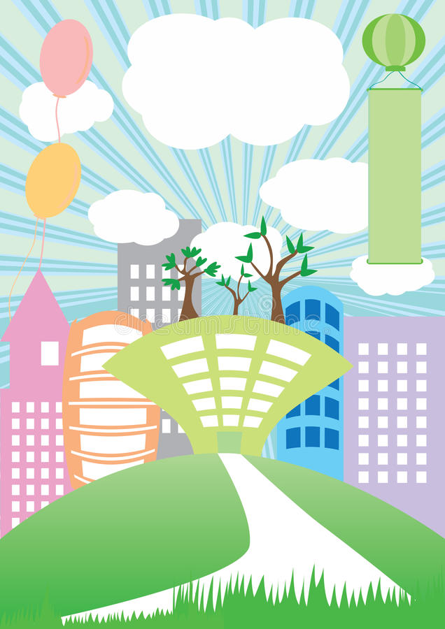 Country Building Green Land_eps royalty free illustration