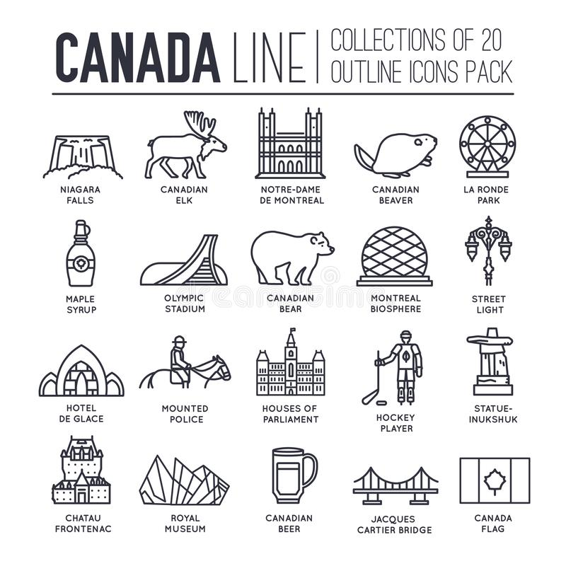 Country Canada travel vacation guide of goods, place and feature. Set of architecture, fashion, people, item, nature. Background concept. Infographic stock illustration