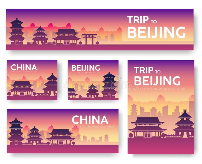 Country China landscape vector banners. Set of architecture, fashion, people, items, nature background concept. Infographic templa royalty free illustration