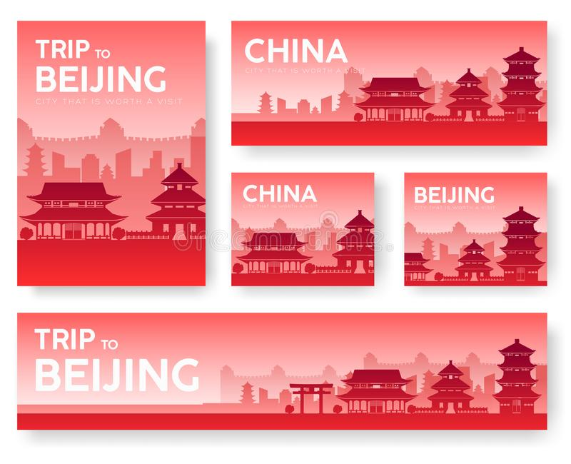 Country China landscape vector banners. Set of architecture, fashion, people, items, nature background concept royalty free illustration