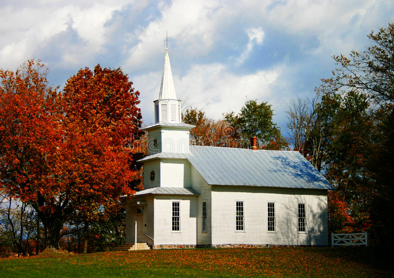 Country Church. Little white country church in the fall stock photo