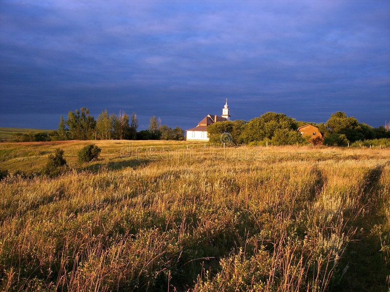 Country Church. Small country church in St. Peter's, originally a German settler colony in Saskatchewan, Canada stock photos