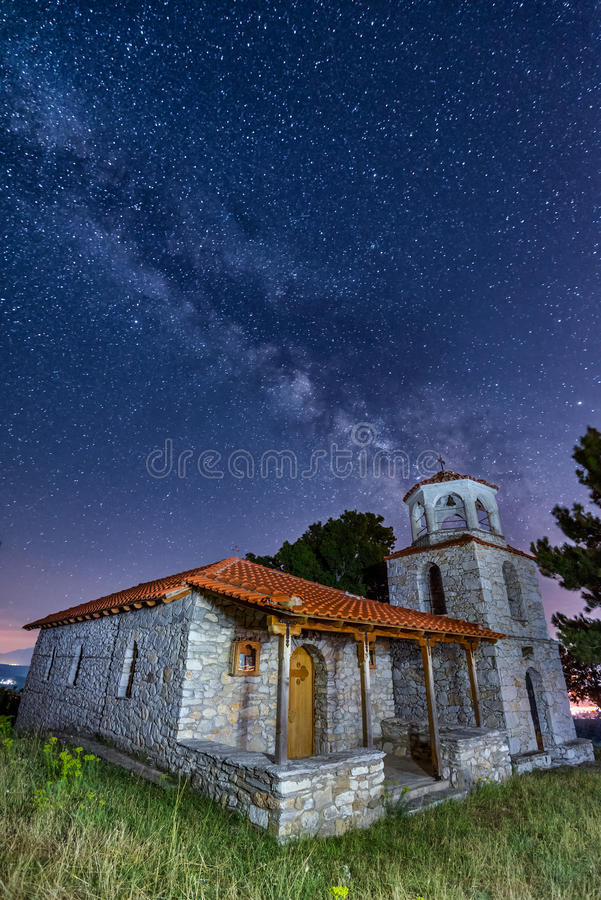Country church and the milky way royalty free stock images