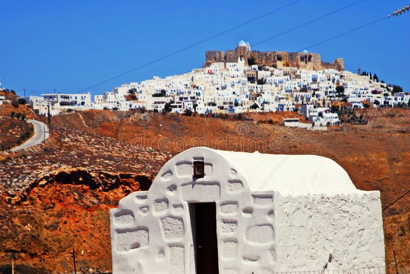 View of the town of Livadi in Astypalaia island, Dodecanese islands, Greece. Country church of the town of Livadi, Astypalaia island, Dodecanese islands, Greece stock photo