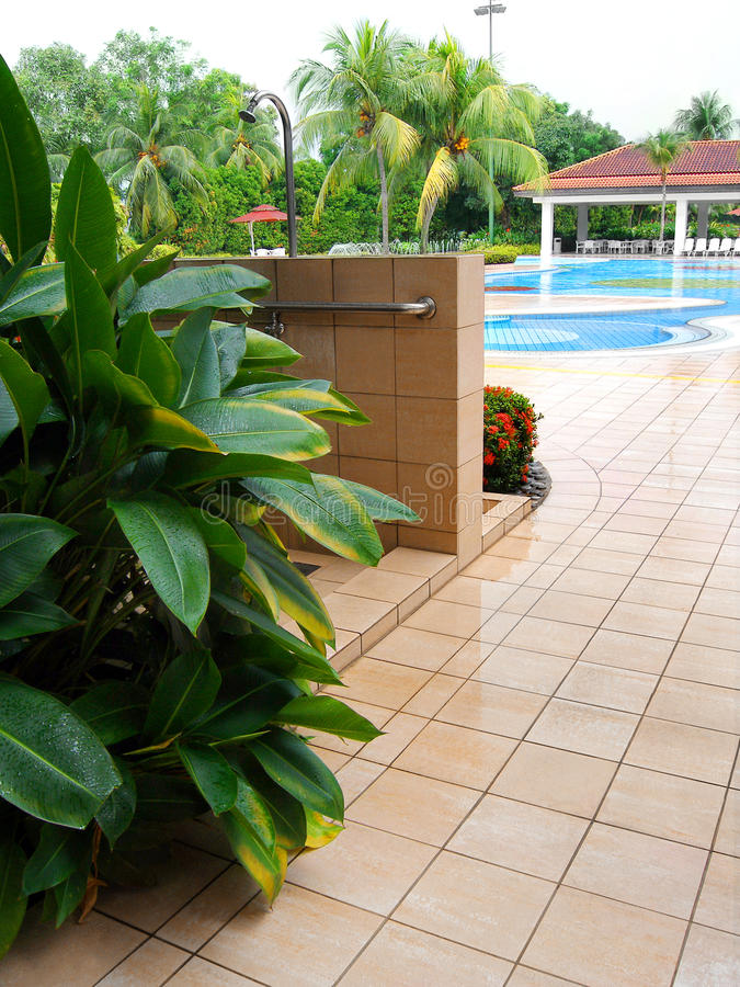 Country club pool area shower royalty free stock images