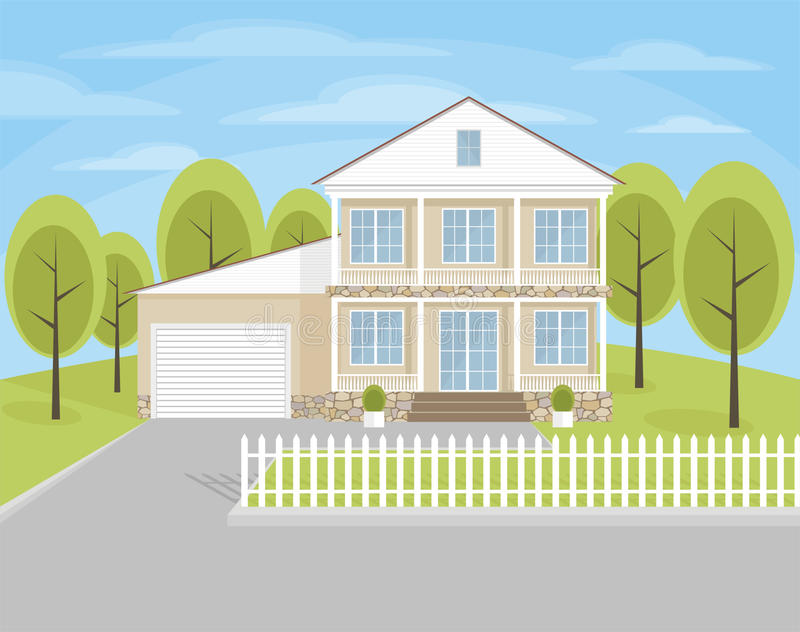 The country cottage. The image of a country cottage on the background of summer landscape vector illustration