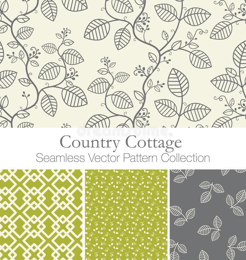 Country Cottage Seamless Vector Pattern Swatch Collection stock illustration