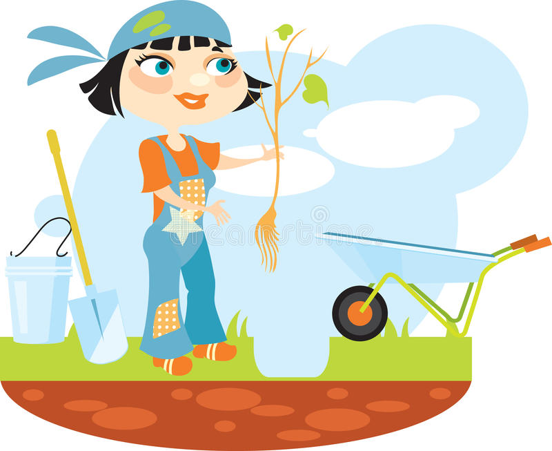 Girl holding a seedling tree stock illustration