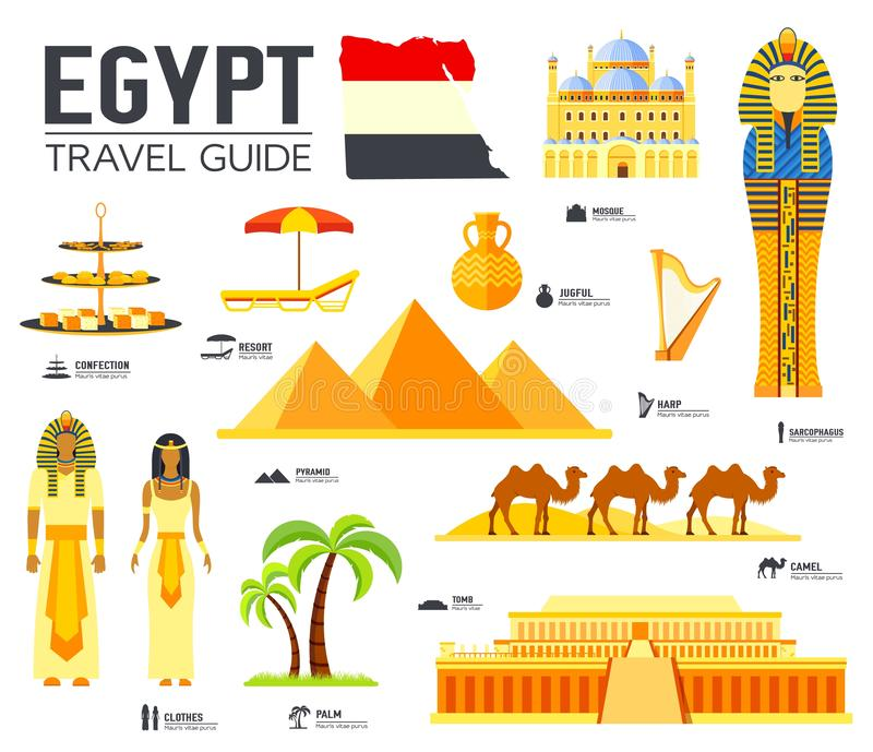 Country Egypt travel vacation guide of goods, places and features. Set of architecture, people, culture, icons background concept. Infographics template design royalty free illustration