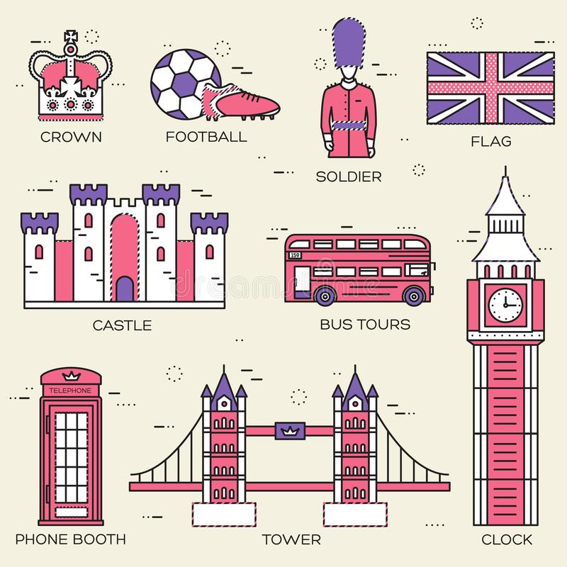 Country England travel vacation guide of goods, places in thin lines style design. Set of architecture, people, sport, icons vector illustration