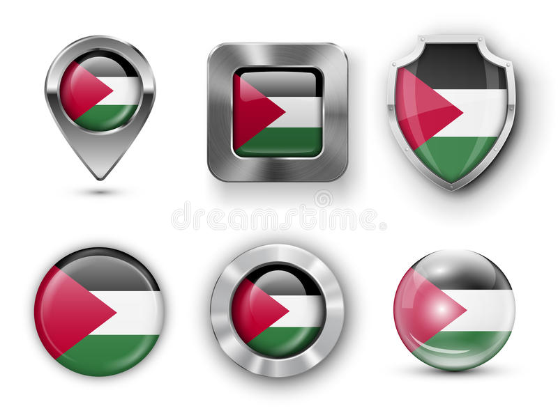 Country Flag Bages. Gaza Strip Metal and Glass Flag Badges, Buttons, Map marker pin and Shields. Vector illustrations stock illustration