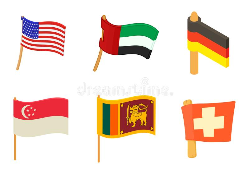 Country flag icon set, cartoon style stock illustration