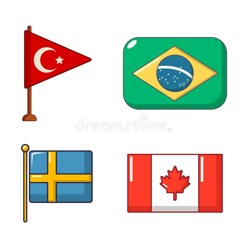 Country flag icon set, cartoon style vector illustration